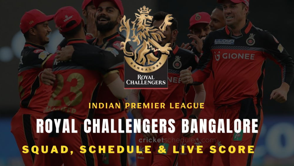 RCB Team, Squads, Schedule and Wiki