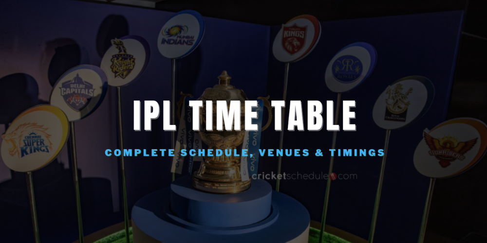 IPL Time Table and IPL Match List